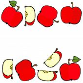 Delicious ripe red apples double horizontal border