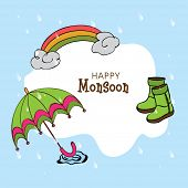 Kiddish illustration for Happy Monsoon Season with clouds, rainbows, boots and umbrella in the rain