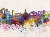 Nicosia Skyline In Watercolor Background