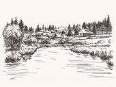 Countryside landscape, Hand drawn illustration sketch.