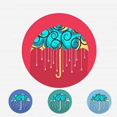 Creative design of beautiful umbrella with raindrops. Stylish sticky set in red, blue, green and sky