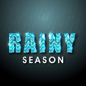 Shiny text Rainy Season made by blue waves on green background for Monsoon Season.