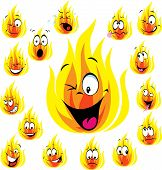 Fire Cartoon With Many Expressions
