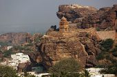 stock photo of rock carving  - Rock carved temples at Badami - JPG