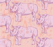 Sketch Wild Rhino, Vector Seamless Pattern