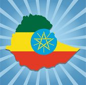 Ethiopia map flag on blue sunburst illustration