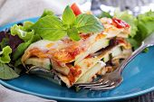 stock photo of zucchini  - Vegetable lasagna with zucchini - JPG