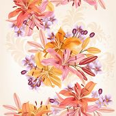 Floral  Seamless Pattern With Lily  Flowers In Watercolor Style