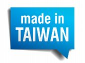 Made In Taiwan Blue 3D Realistic Speech Bubble Isolated On White Background