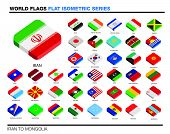 isolated world flags in flat colour on a white background