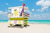 Lifeguard tower in South Beach, Miami on a beautiful summer day