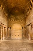 stock photo of vihara  - Vihara or prayer hall at Kanheri Caves in Sanjay Ghandi National Park India - JPG