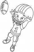 Outlined football kid. Vector illustration coloring page