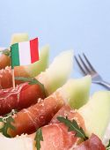 Ripe Melon With Ham, Parmesan With Italy Flag