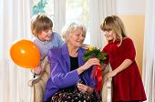 Grandma Receives Flowers From Grand Kids