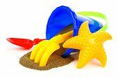 Beach toys with sand