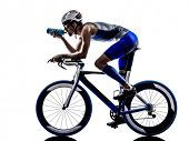 man triathlon iron man athlete biker cyclist bicycling biking drinking in silhouette on white background