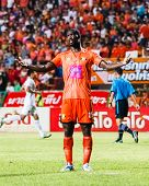 Sisaket Thailand-june 8: Godwin Antwi Of Sisaket Fc. (orange) In Action During Thai Premier League B