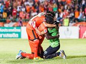 Sisaket Thailand-june 8: Lucas Daniel Of Sisaket Fc. (green) In Action After The Game Of Thai Premie