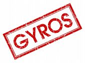 Gyros Red Square Grungy Stamp Isolated On White Background