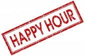 Happy Hour Red Square Grungy Stamp Isolated On White Background