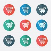shopping basket icons - stock illustration