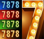 Ultimate realistic lamp board alphabet. Condensed style. Left and right options. Multicolored. Numbe