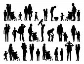 stock photo of buggy  - big set of black silhouettes of families with young children in different postures - JPG