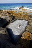 In   Isle Foam Rock Spain Landscape  Stone Sky Cloud Beach