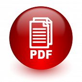 pdf red computer icon on white background,