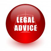 legal advice red computer icon on white background