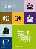 Landmarks of Berlin. Set of flat color icons in Metro style. Raster image