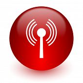 wifi red computer icon on white background