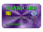 Bank Card In Green And Purple
