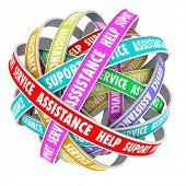Support, Assistance, Help and Support words endless cycle of ribbons or roads 3d pattern