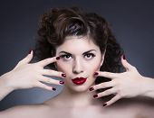 Manicure and Makeup. Make up concept. Beauty woman face
