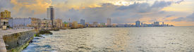stock photo of malecon  - Panoramic view of Havana bay and city skyline along the waterfront  - JPG