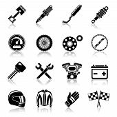 stock photo of motorcycle  - Motorcycle parts black icon set with helmet spanner tires isolated vector illustration - JPG
