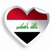 picture of iraq  - Heart sticker with flag of Iraq isolated on white - JPG