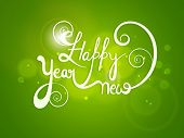 Stylish text Happy New Year on shiny green background, Can be used as poster, banner or flyer.