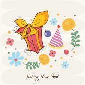 Happy New Year greeting card design decorated with Christmas ornaments on stylish background.