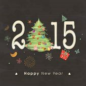 Happy New Year celebrations with stylish text 2015 and beautiful X-mas tree on Christmas ornaments decorated background.
