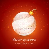 Merry Christmas and Happy New Year celebration with floral design decorated beautiful X-mas ball on shiny red background.