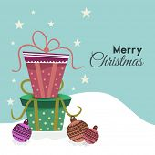 Merry Christmas celebration greeting card design decorated with gift boxes and X-mas balls on stylish background.