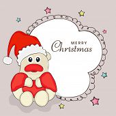 Greeting card for Merry Christmas celebration with cute little teddy bear in Santa dress and stylish text on colorful star decorated background.