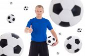Soccer Player Over White Background With Flying Leather Balls