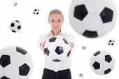 Business Woman Holding Soccer Ball Over White Background With Flying Leather Balls