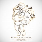 Santa Claus holding a gift sack on shiny grey background for Merry Christmas celebrations.