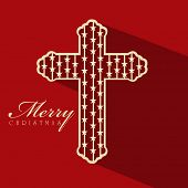 Merry Christmas celebration with Christian Cross on red background, can be use as banner, flyer or poster.