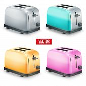 Set of Bright retro toasters. Vector isolated on white background.